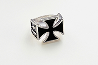 G&S Biker Rings, Cross of Iron With Lightning Bolts Ring